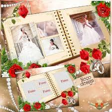 free wedding collages bride psd frames and photo album cover