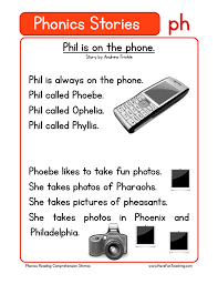 phonics words stories ph reading comprehension worksheet