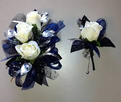 how to make corsages and boutonnieres navy blue black corsage boutonniere set white silk roses