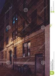 new york street backyard architecture at night stock photo image