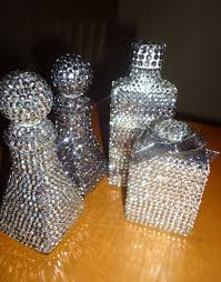 frugal home design diy home decor make rhinestone covered bottles
