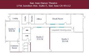 Dance Studio Floor Plan Studio Rental San José Dance Theatre
