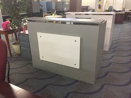 Gray Reception Desk Fineline 60 U201d Wide Custom Reception Desk Grey With White Accent