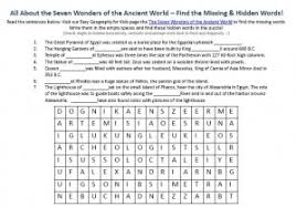 the seven wonders of the ancient world worksheet printable word