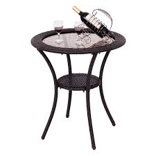 Wicker Accent Table Round Rattan Wicker Coffee Table With Lower Shelf Coffee Tables