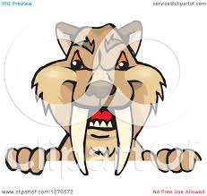 clipart of a saber toothed tiger peeking over a sign royalty