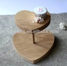 good design wood cake stand heart shape 2 tier cake stand high