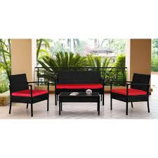 Outdoor Wicker Settee Cushions by Keter Corfu Pc Wicker Patio Conversational Set With Cushions Pics