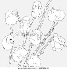 tall willow sprays cute stock vector 549522850