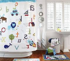 alphabet theme shower curtain for toodlers bathroom shower