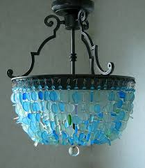 Sea Glass Chandelier Sea Glass Lighting Fixture Chandelier Semi Flush Mount Coastal