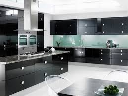 kitchen decor black cabinetry also island with chimney also grey