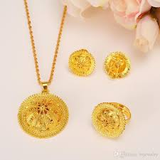 bridal gold ring 2018 gold jewelry set pendant necklaces earring ring