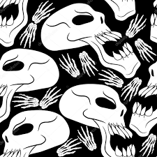 halloween background skulls seamless halloween skulls and skeleton hands background u2014 stock