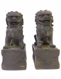 foo dog statues pair iron black metal fengshui foo dog statues cs1410s