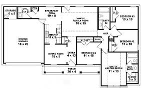 4 bedroom 1 story house plans 653785 one story 4 bedroom 2 bath traditional ranch style house