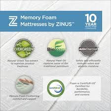 Mattress Foundation King Memory Foam 10 Inch Green Tea Mattress Zinus