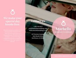 simple wedding planning pink simple wedding planner trifold brochure templates by canva