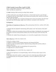 Legal Proceedings Letter by Parenting Plan For Custody Of Children Custody Agreement