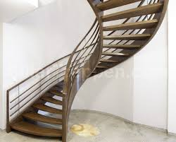 helical staircase wooden steps wooden frame without risers