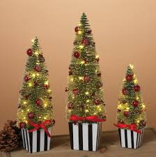 set of 3 pre lit battery operated tabletop trees with