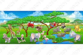 safari cartoon cute cartoon safari animal scene landscape illustrations