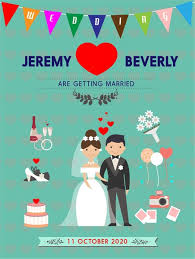 wedding card template illustration in color vintage style free