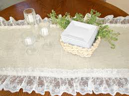 Burlap Lace Table Runner Diy Vintage White Burlap And Lace Table Runner On Round Wood