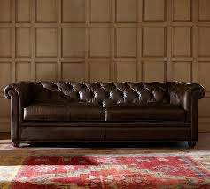 leather sofa chesterfield leather sofa pottery barn
