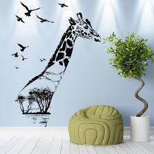 home decor giraffe giraffe forest silhouette wall stickers for kids rooms home decor