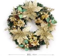 40cm gold christmas garland wreath with leaf fruits pinecone bells