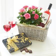 Wine And Chocolate Gift Baskets Luxury Rose Wine Gift Basket Ethos Flowers Birmingham West