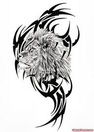 black tribal and lion head tattoo design for girls tattoo viewer com