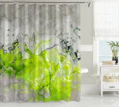 Navy And Green Curtains Contemporary Shower Curtain Abstract Art Bathroom Decor Lime