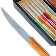 coloured kitchen knives set of 6 thiers steak knives with coloured plexiglas handle actiforge