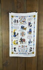 vintage linen dish towel pennsylvania dutch folk art pa german