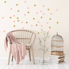 gold and pink polka dot wall stickers for baby child room or nursery gold and pink polka dot wall stickers for bedroom nursery child s baby s room playroom easy peal