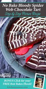 no bake bloody spider web chocolate tart easy halloween