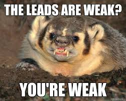 You Re A Badass Meme - the leads are weak you re weak badass honey badger quickmeme