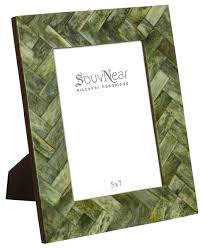 wholesale 5x7 inches handmade green color picture frame bone