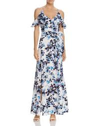 eliza j eliza j cold shoulder flutter sleeve floral maxi dress