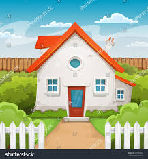 house inside garden illustration cartoon domestic house stock