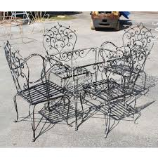 vintage black wrought iron dining set omero home
