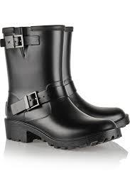 motorcycle booties michael michael kors davenport leather trimmed rubber rain boots
