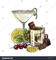 chocolate martini clipart lemon drop martini white russian cocktails stock vector 624212813