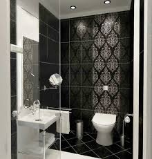 black tiles wall decorating ideas with white toilet furniture