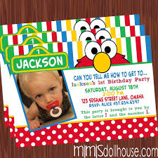 Invitation Card For 1st Birthday Elmo 1st Birthday Invitations Plumegiant Com