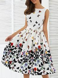 butterfly print sleeveless knee length dress