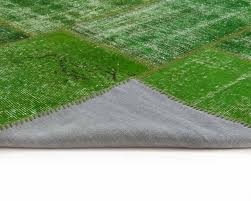 Green Turf Rug Green Vintage Patchwork Carpets Handmade From Old Persian Carpets