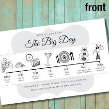 wedding day program wedding program with wedding party silhouettes and big day